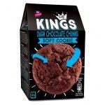 Soft Cookies con Gocce di Cioccolato Fondente Kings. La confezione contiene 4 biscotti singolarmente confezionati, ognuno di circa 45 gr per un totale di 180 gr.